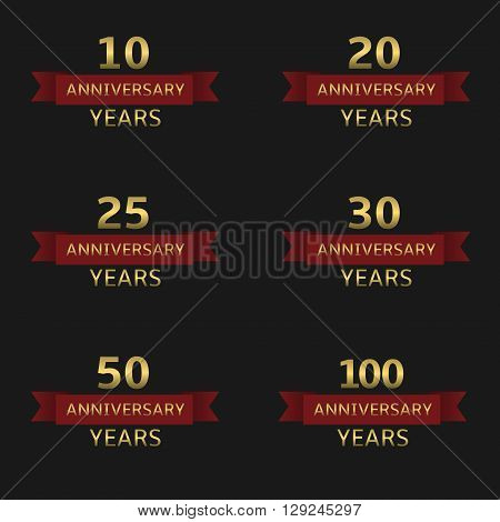 Anniversary years label set. Golden labels with red ribbons