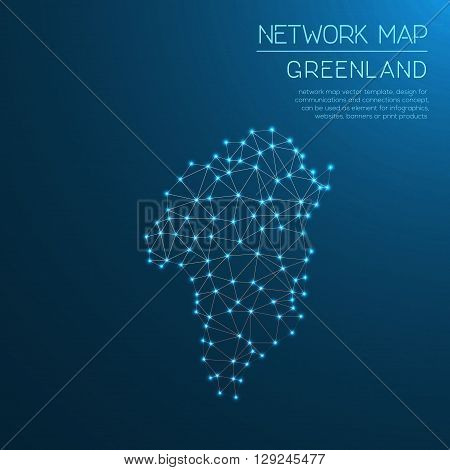 Greenland Network Map. Abstract Polygonal Map Design. Internet Connections Vector Illustration.