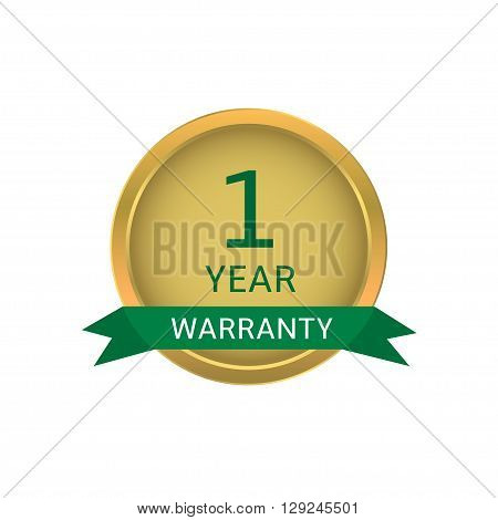 One year warranty label. Golden badge with green ribbon