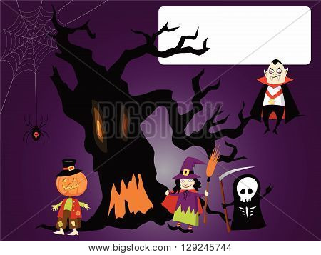 Halloween card. Template for a Halloween invitation or an envelope with creepy haunted tree, spider web and a bunch of cute costumed characters
