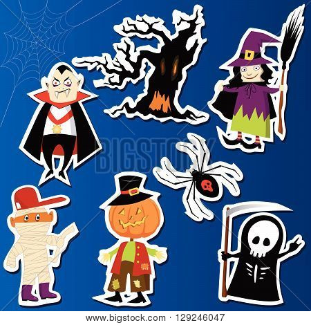 A set of cute Halloween character stickers