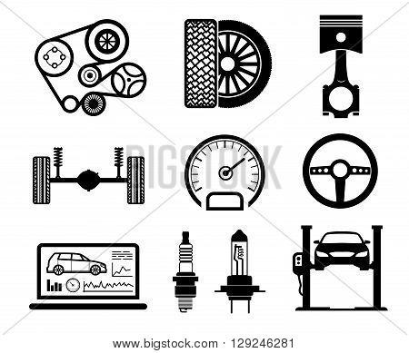 Car maintenance and repair icon set, vector.