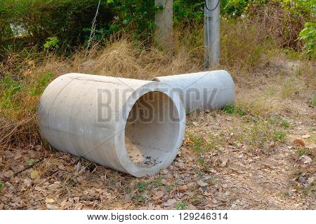 Concrete Drainage Pipes Stacked For Construction