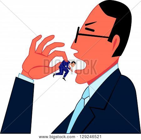 Human resources. Businessman swallowing a tiny employee
