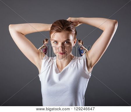 Good and Bad Concept with Woman in Studio shot
