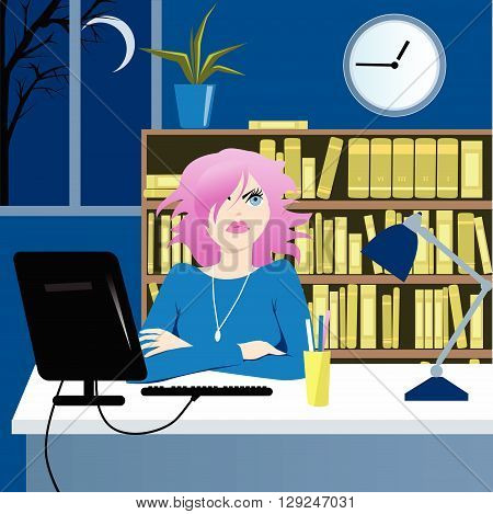 Unhappy woman with pink hair working long hours