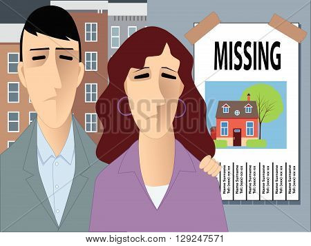 Family looking for a house, EPS8 vector illustration