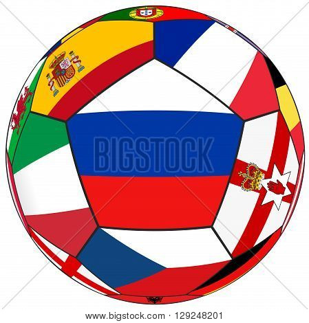Soccer ball on a white background with flags of European countries - flag of Russia in the center