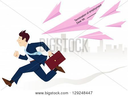 Employee running from pink slips, EPS8 vector illustration