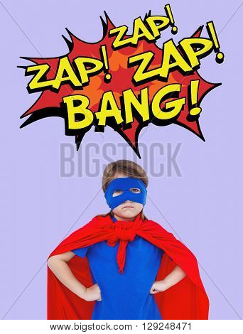 Masked girl pretending to be superhero against purple background