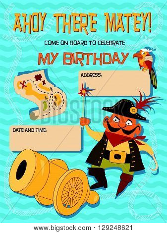 Birthday invitation with a pirate, EPS8 vector illustration