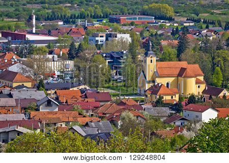 Town of Ivanec aerial view Zagorje Croatia