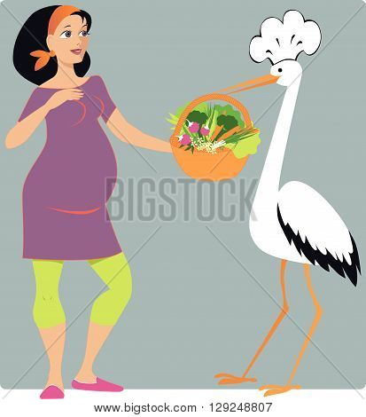 Stork bringing a basket of vegetables to a pregnant woman