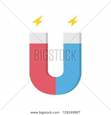 Vector black magnet icon sign on white background