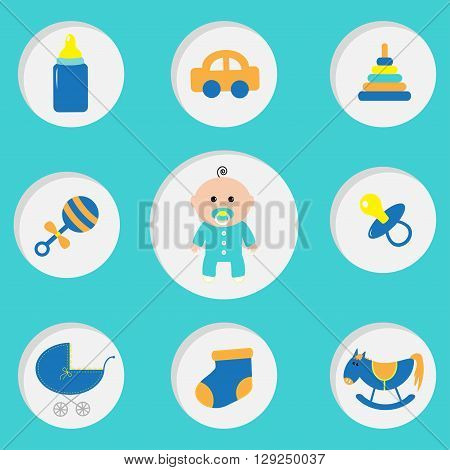 Baby boy shower card with bottle horse rattle pacifier sock car toy baby carriage pyramid. Its a boy. Round icon set. Blue background. Flat design Vector illustration