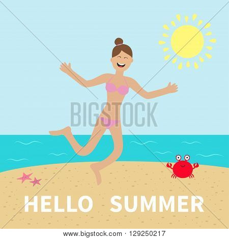 Hello summer. Woman wearing swimsuit jumping. Sun beach sea ocean crab starfish. Happy girl jump Cartoon laughing character in pink swimming suit Smiling woman in bikini bathing suit Flat Vector