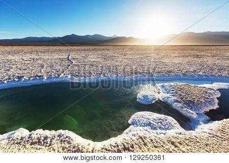Ojo del Mar in a salt desert in the Jujuy Province, Argentina
