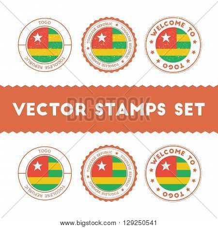 Togolese Flag Rubber Stamps Set. National Flags Grunge Stamps. Country Round Badges Collection.
