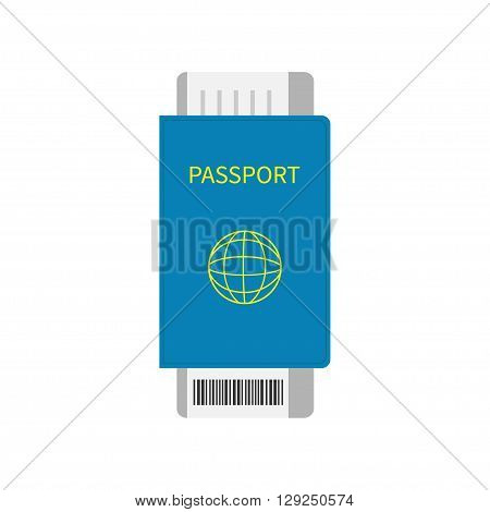 Passport and air boarding pass ticket icon with barcode. Isolated. White background. Travel and Vacation consept. Flat design. Vector illustration