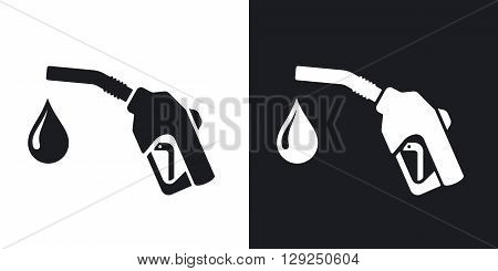 Gun for fuel pump with a drop of fuel stock vector. Two-tone version on black and white background