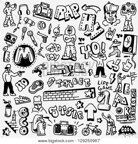rap, hip hop , graffiti - set icons in sketch style , design elements