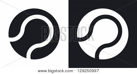 Tennis ball icon stock vector. Two-tone version on black and white background