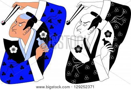 Samurai holding sushi roll using chopsticks EPS8 vector illustration
