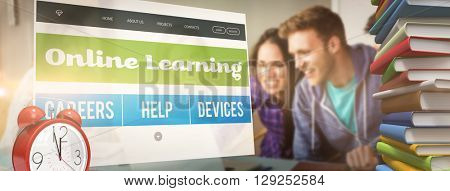 Online learning interface against smiling friends students using laptop
