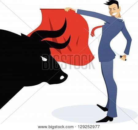 Businessman torero fighting a bull EPS8 vector illustration