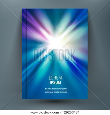 Abstract mockup composition with spark on glory deep blue space backdrop. Light rays of distant galaxies in universe. Speed of light. Astral journey. Supernova star. A4 brochure title sheet.