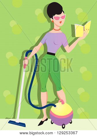 Spring cleaning and vacuuming EPS 8 vector illustration
