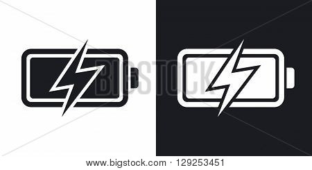 Vector battery icon. Two-tone version on black and white background