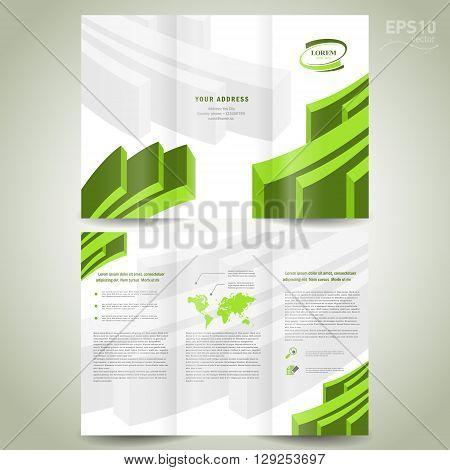 dimensional 3d line brochure design template folder leaflet green element white background
