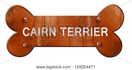 Cairn terrier, 3D rendering, rough brown dog bone