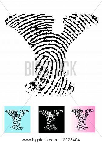 Fingerprint Alphabet Letter Y