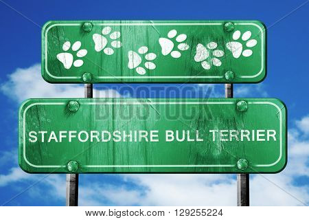 Staffordshire bull terrier, 3D rendering, rough green sign with