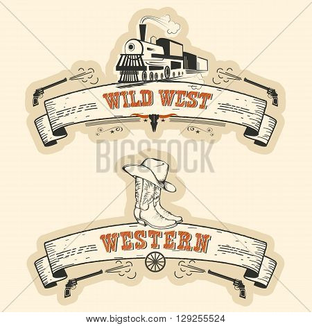 Vintage Western And Wild West Labels Isolated