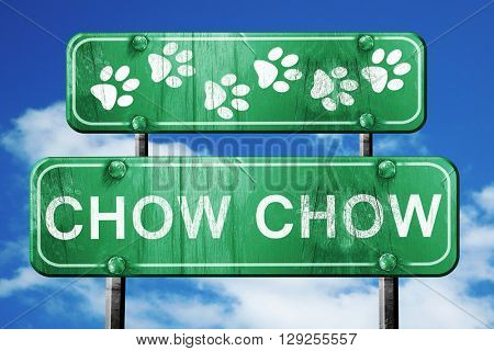 Chow chow, 3D rendering, rough green sign with smooth lines