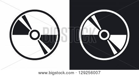 Vector CD or DVD icon. Two-tone version on black and white background