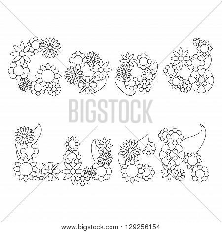 Good Luck words by  flowers vector ornament for coloring, words flower ornament vector illustration, flower coloring page, positive thinking, flower design, luck word letters outlined for coloring