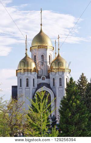 VOLGOGRAD - MAY 9: Orthodox Church of all saints at the top of Mamayev Kurgan. May 9 2016 in Volgograd Russia.