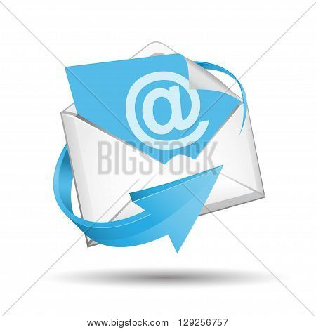E-mail envelope with blue arrow on white background
