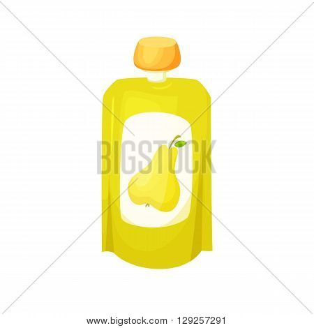 Pear juice package. Fruit pear purees. Healthy fruit purees snack in packaging. Fruit juise in packing. Pear juice in pack. Baby food. Drink fruit purees. Pear jam.