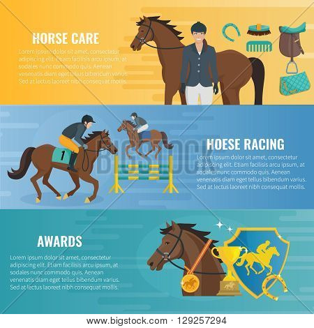 Color flat horizontal banners about horse care equestrian racing and awards in competition vector illustration