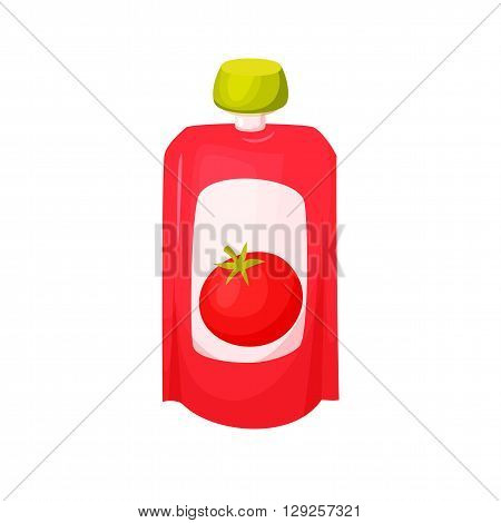 Tomato juice package. Vegetables tomato sause. Healthy vegetables purees snack in packaging. Vegetables juise in packing. Tomato dressing e in pack. Baby food. Drink fruit purees. Tomato ketchup.