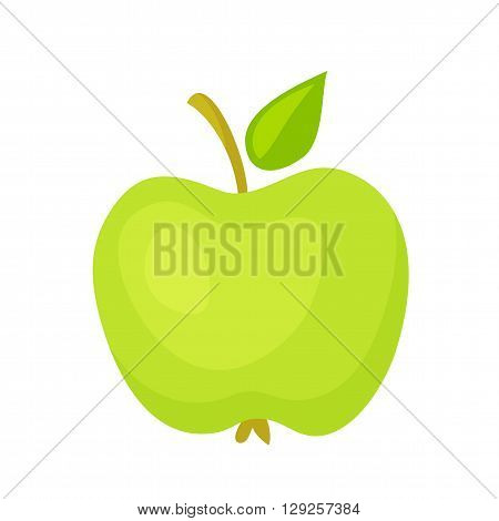 Apple icon. Apple vector illustration. Cartoon apple logo. Fresh healthy snack Vegetarian food. Green apple with leaf