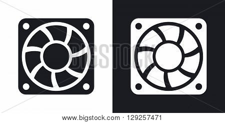 Vector computer cooling fan icon. Two-tone version on black and white background