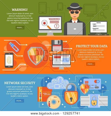 Network security banners set with elements of data protection secure data exchange antivirus software  vector illustration