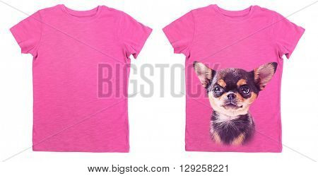 T-shirt design concept - blank t-shirt and t-shirt with print of dog