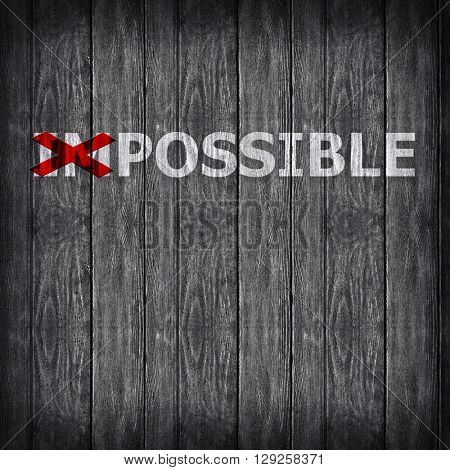 Word impossible transformed into possible on grey wall